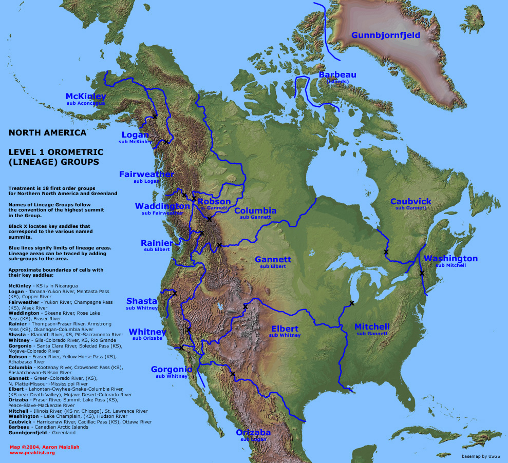 Map Of North America NORTH AMERICA PHYSICAL Relief Key Mountains - Map of the us mountains